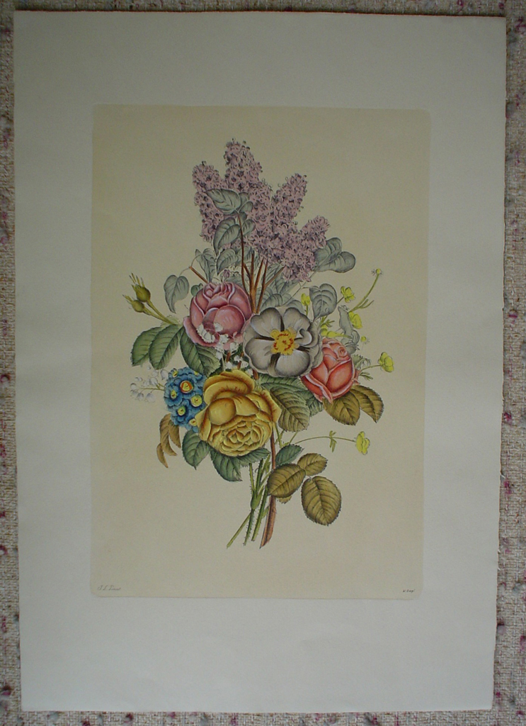 Mixed Flowers Roses Lilacs by Jean-Louis Prevost, shown with full margins - restrike etching, hand-coloured original print