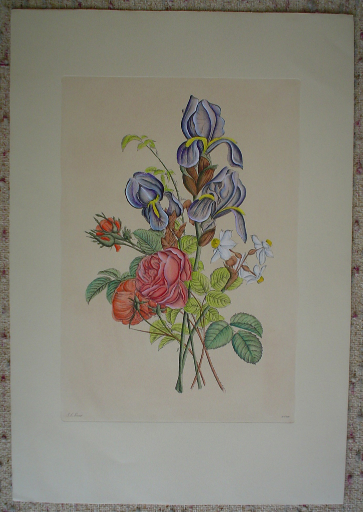 Mixed Flowers Iris by Jean-Louis Prevost, shown with full margins - restrike etching, hand-coloured original print