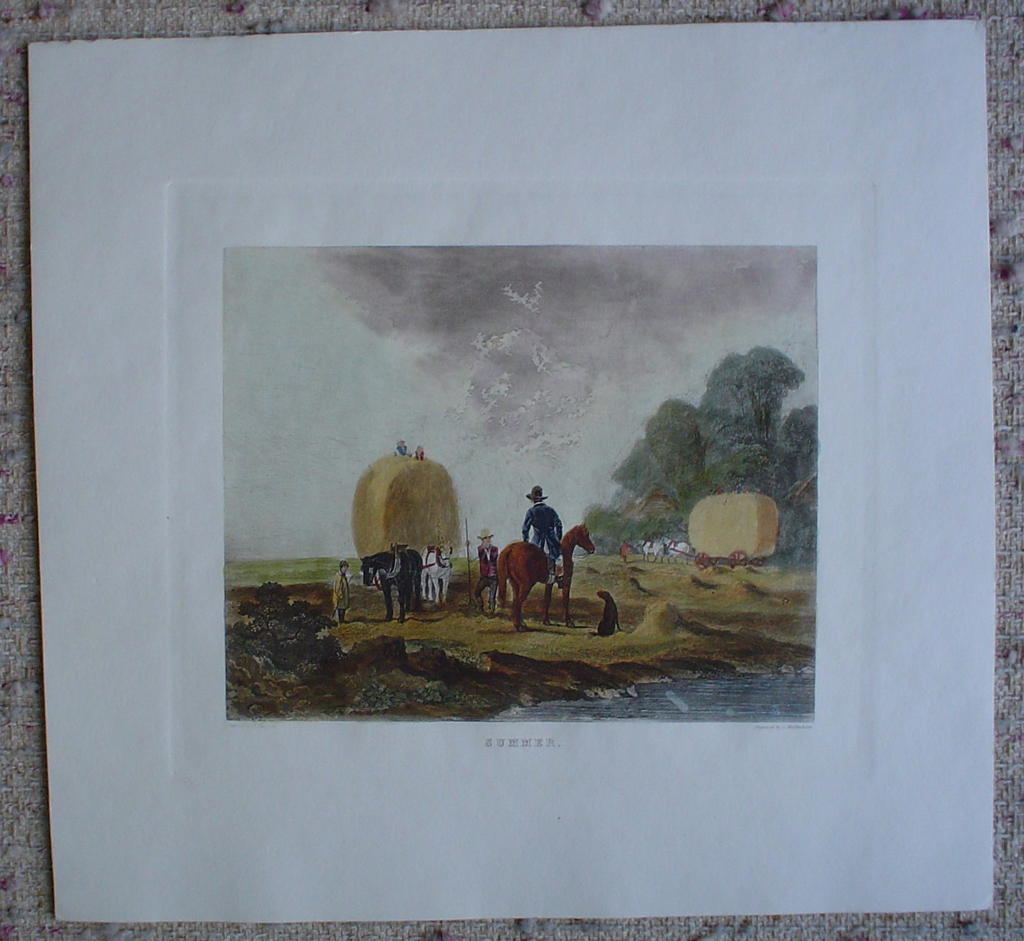 Summer by John Dearman, shown with full margins - restrike etching, hand-coloured original print