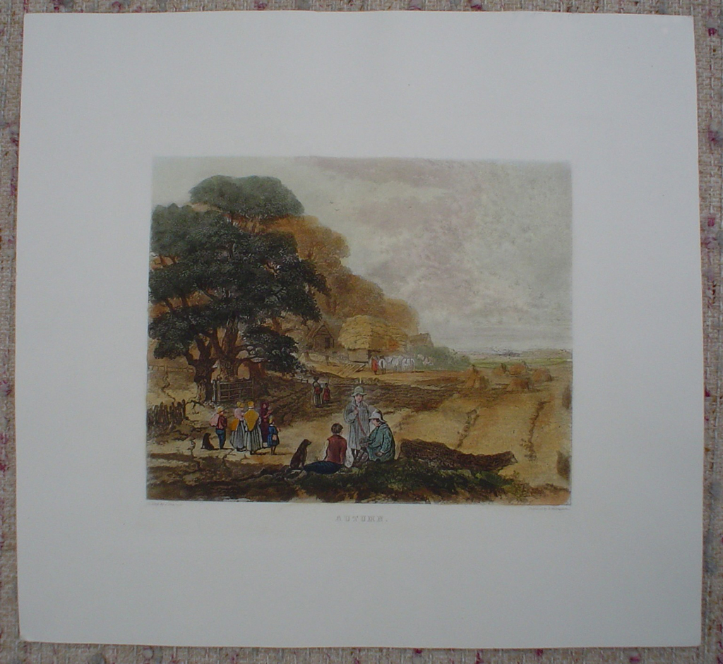 Autumn by John Dearman, shown with full margins - restrike etching, hand-coloured original print