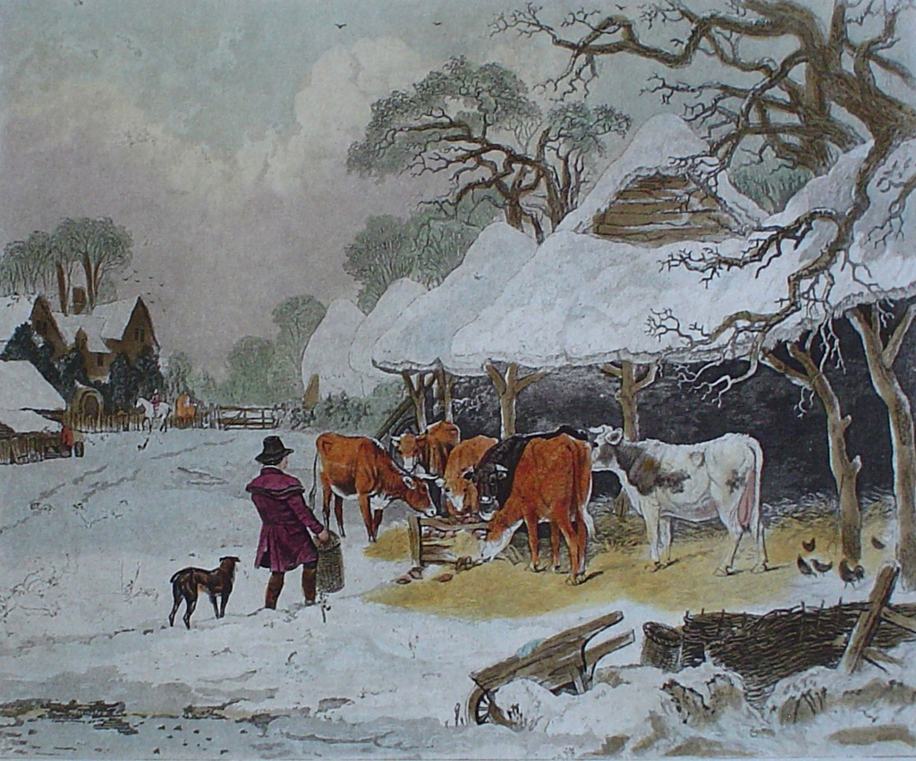 Winter by John Dearman - restrike etching, hand-coloured original print