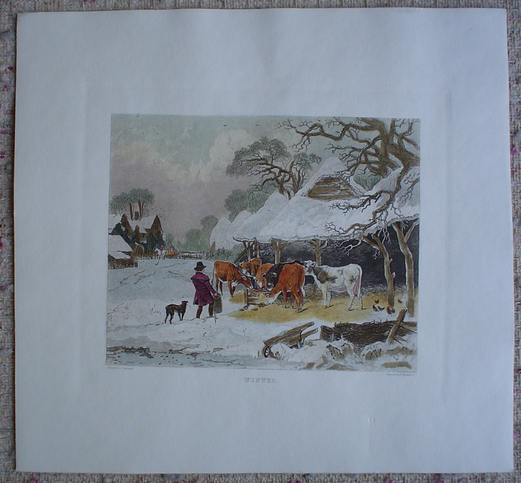Winter by John Dearman, shown with full margins - restrike etching, hand-coloured original print
