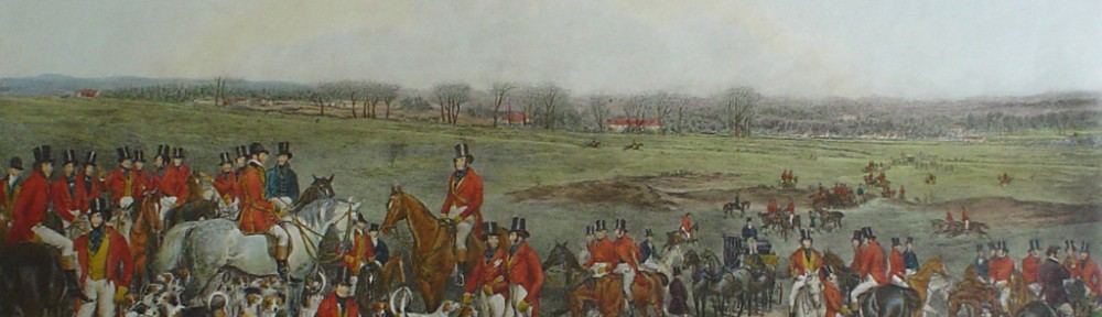 Her Majesty's Stag Hounds On Ascot Heath by Francis Grant - restrike etching, hand-coloured original print