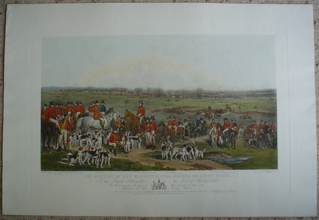 Her Majesty's Stag Hounds On Ascot Heath by Francis Grant, shown with full margins - restrike etching, hand-coloured original print