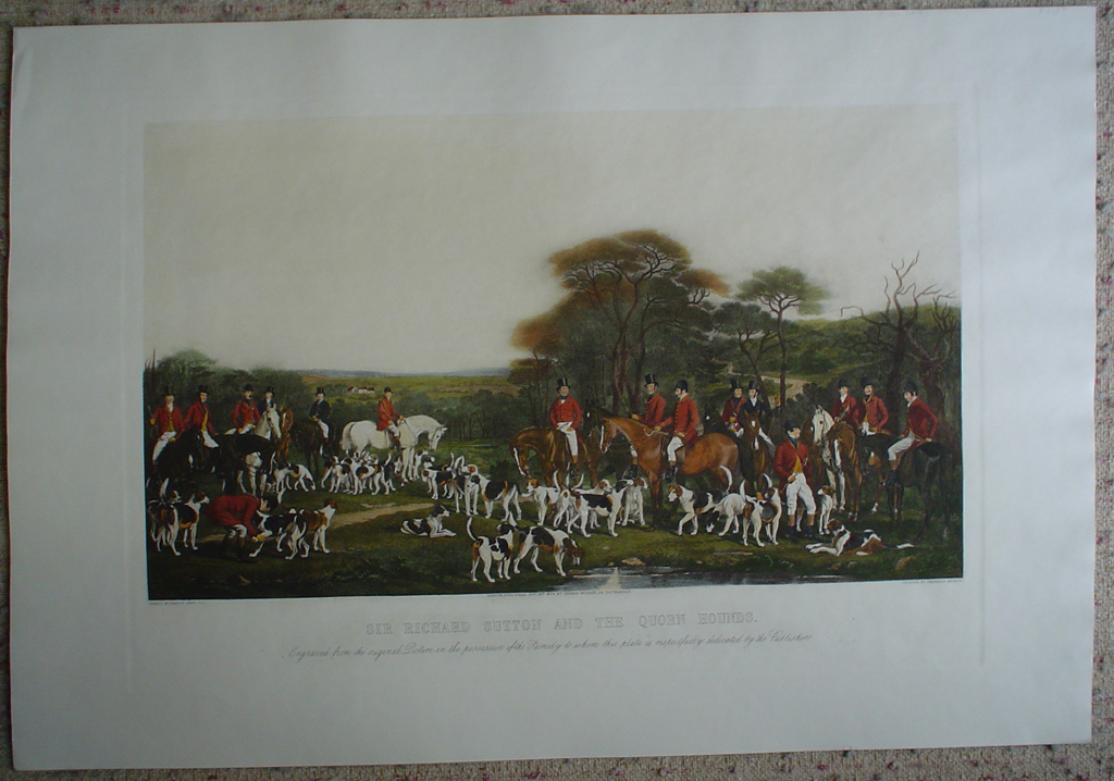 Sir Richard Sutton And The Quorn Hounds by Francis Grant, shown with full margins - restrike etching, hand-coloured original print