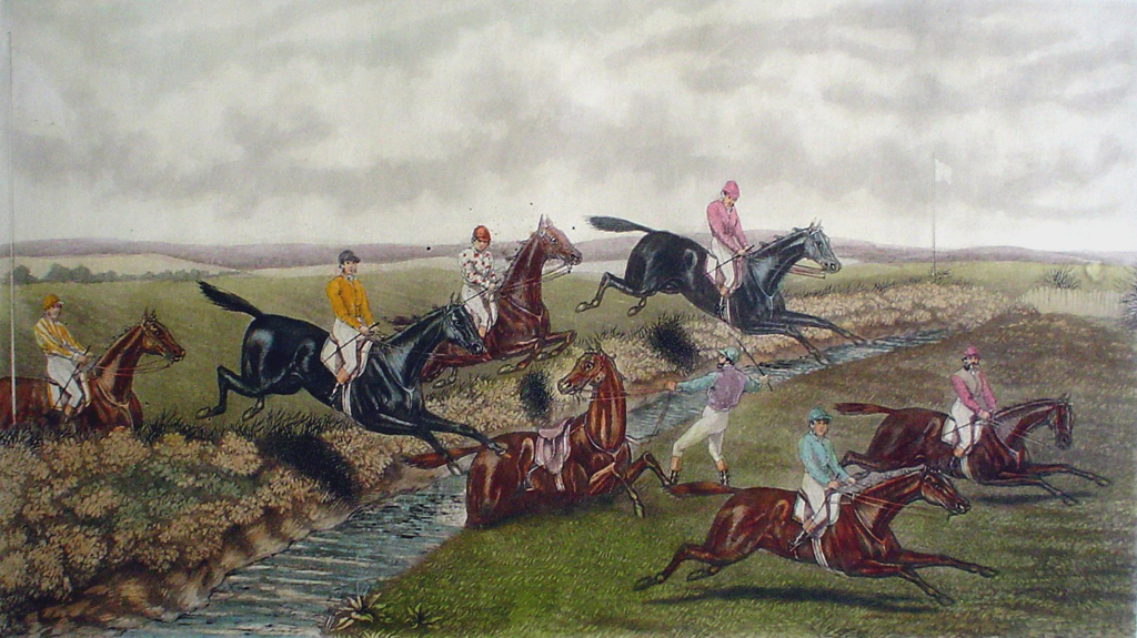 Steeplechase, The Brook by GC Hunt and Son - restrike etching, hand-coloured original print