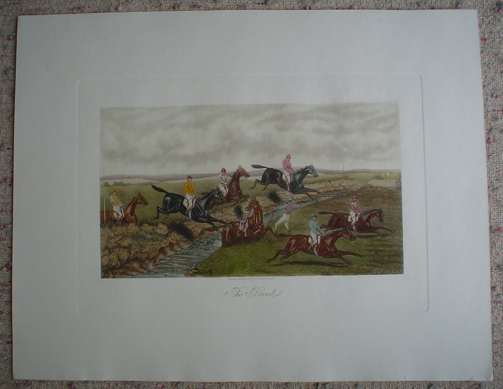 Steeplechase, The Brook by GC Hunt and Son, shown with full margins - restrike etching, hand-coloured original print