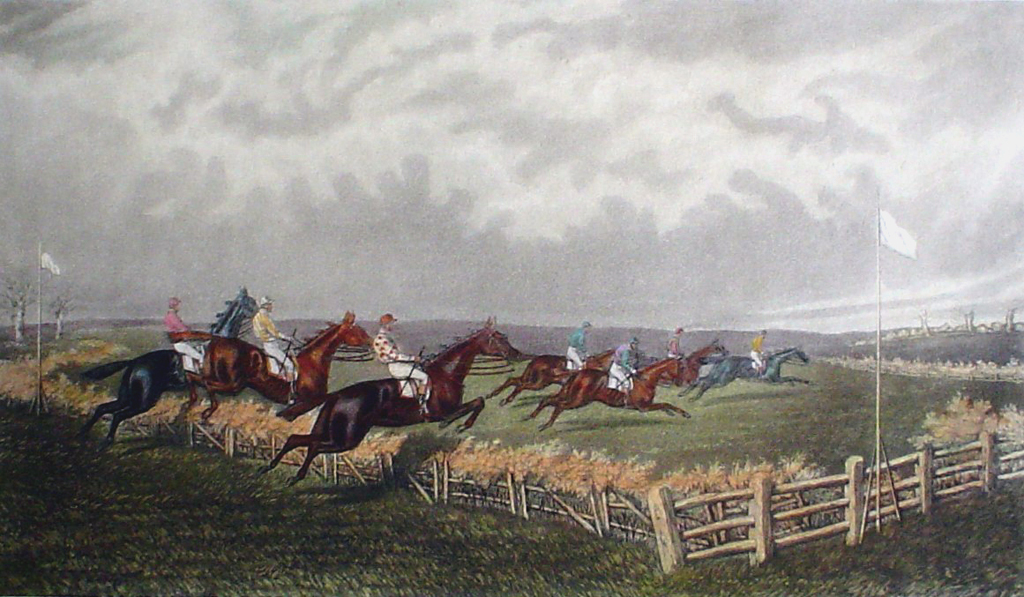 Steeplechase, The First Fence by GC Hunt and Son - restrike etching, hand-coloured