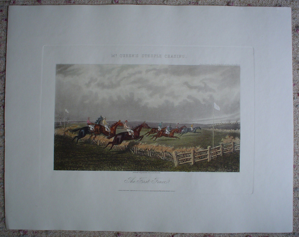 Steeplechase, The First Fence by GC Hunt and Son, shown with full margins - restrike etching, hand-coloured