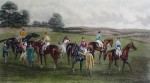 Steeplechase, The Paddock by GC Hunt and Son - restrike etching, hand-coloured original print