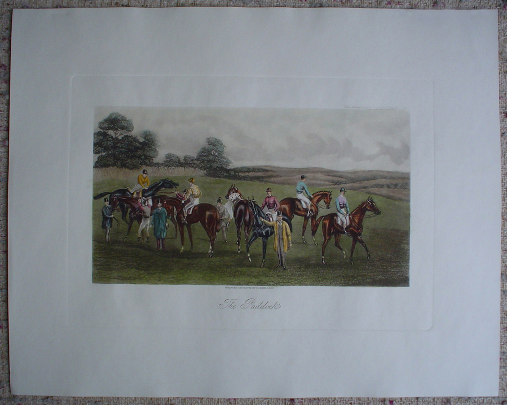 Steeplechase, The Paddock by GC Hunt and Son, shown with full margins - restrike etching, hand-coloured original print