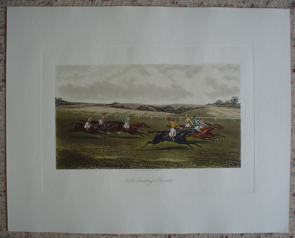 Steeplechase, An Exciting Finish by GC Hunt and Son, shown with full margins - restrike etching, hand-coloured