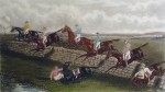 Steeplechase, The Stone Wall by GC Hunt and Son - restrike etching, hand-coloured original print