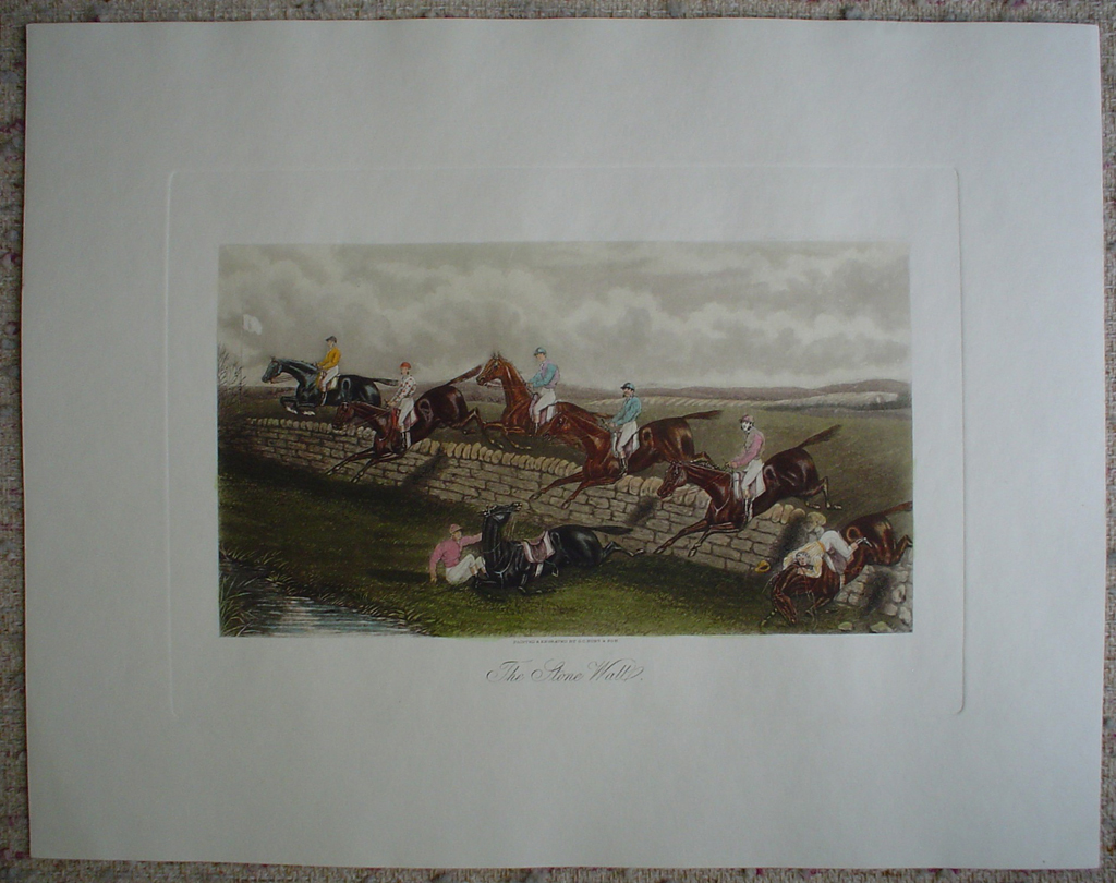Steeplechase, The Stone Wall by GE Hunt and Son, shown with full margins - restrike etching, hand-coloured original print