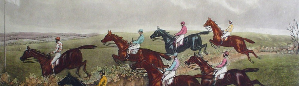 McQueens Steeplechase, The Last Fence by GC Hunt and Son - restrike etching, hand-coloured
