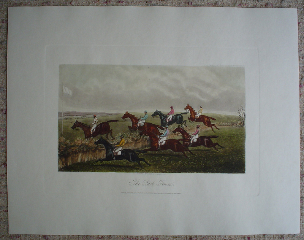 McQueens Steeplechase, The Last Fence by GC Hunt and Son, shown with full margins - restrike etching, hand-coloured