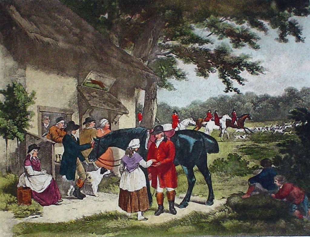 Fox Hunting, Going Out by George Morland - restrike etching, hand-coloured original print