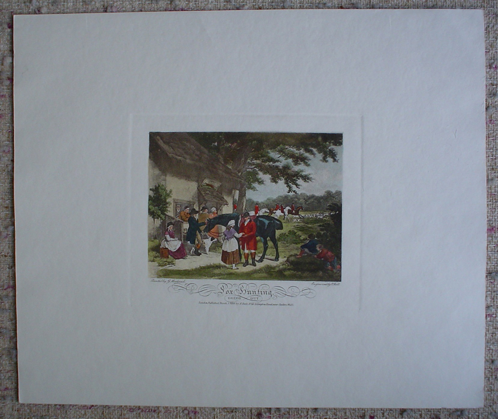Fox Hunting, Going Out by George Morland, shown with full margins - restrike etching, hand-coloured original print