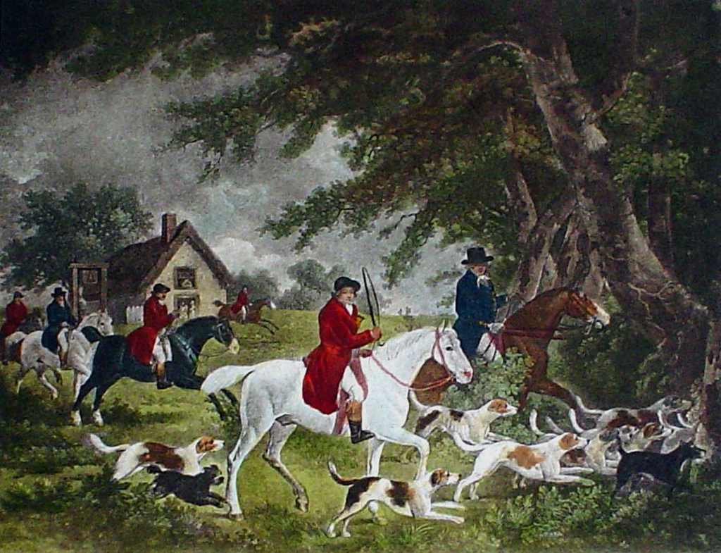 Fox Hunting, Going Into Cover by George Morland - restrike etching, hand-coloured original print