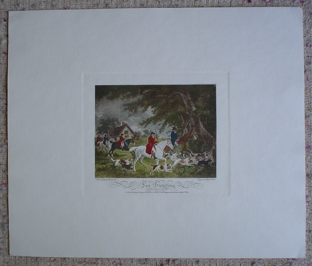 Fox Hunting, Going Into Cover by George Morland, shown with full margins - restrike etching, hand-coloured original print