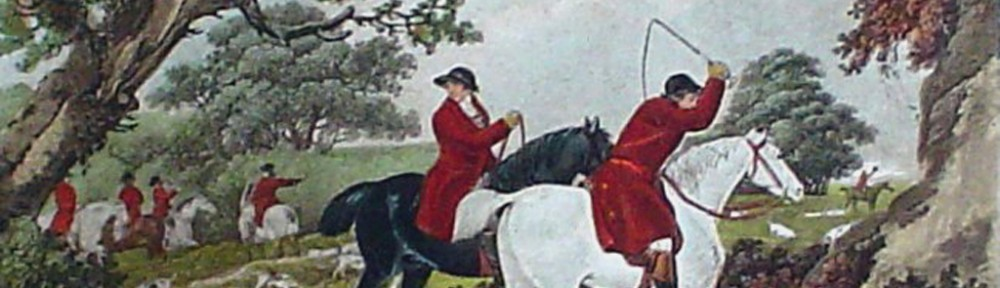 Fox Hunting, The Check by George Morland - restrike etching, hand-coloured original print