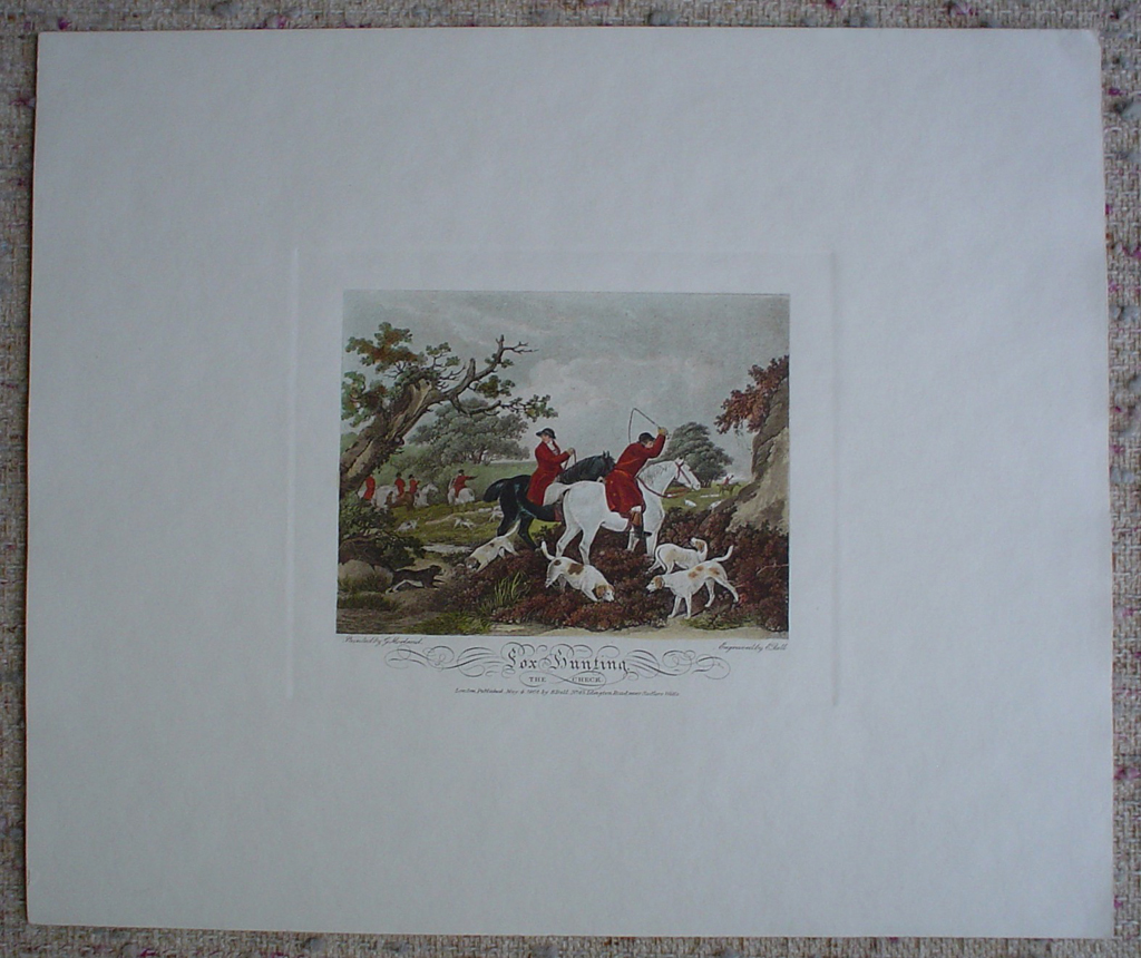 Fox Hunting, The Check by George Morland, shown with full margins - restrike etching, hand-coloured original print