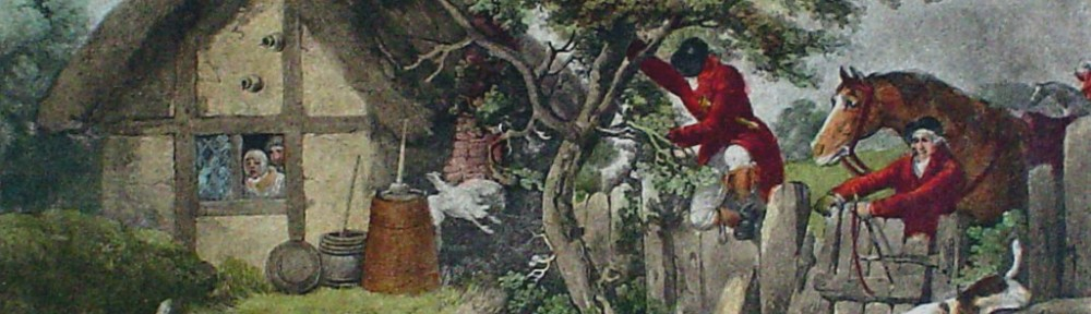 Fox Hunting, The Death by George Morland - restrike etching, hand-coloured original print