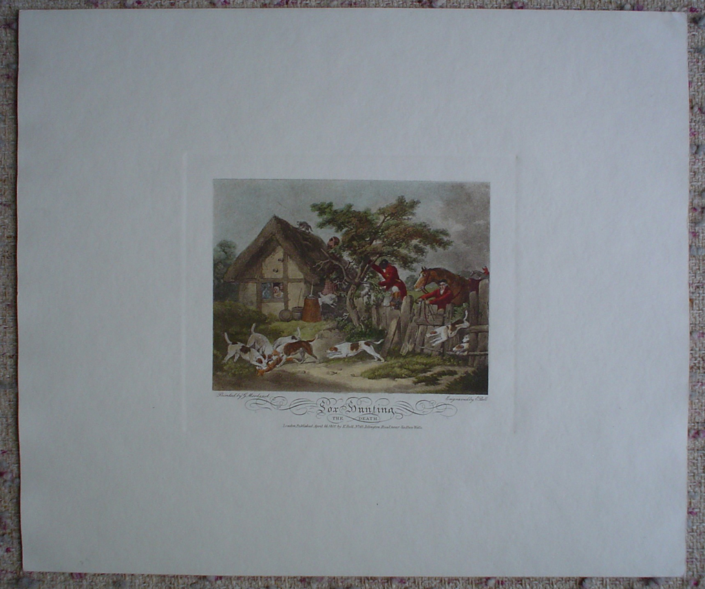 Fox Hunting, The Death by George Morland, shown with full margins - restrike etching, hand-coloured original print