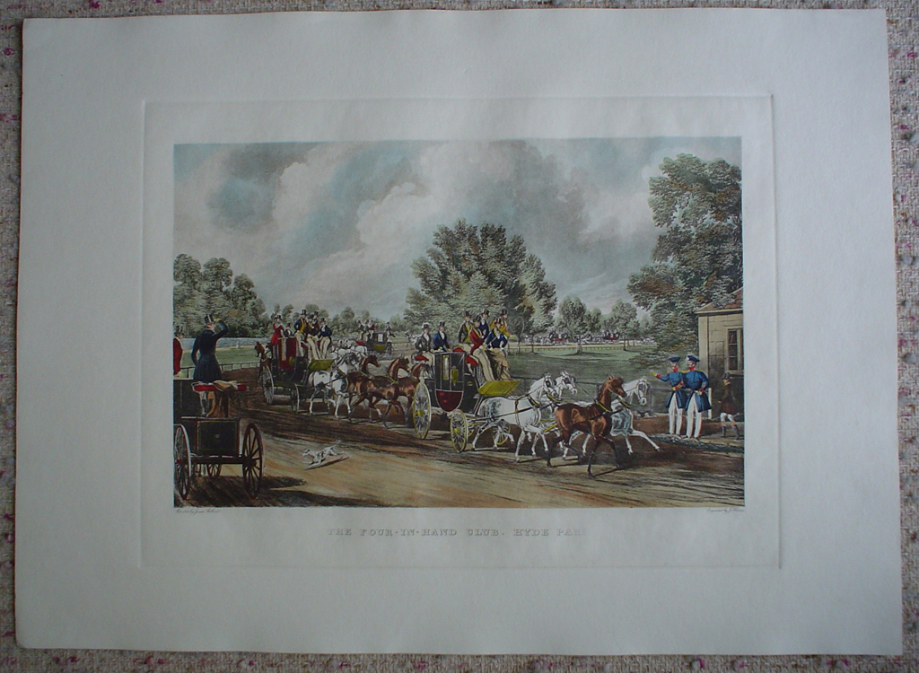The Four In Hand Club by James Pollard, shown with full margins - restrike etching, hand-coloured original print