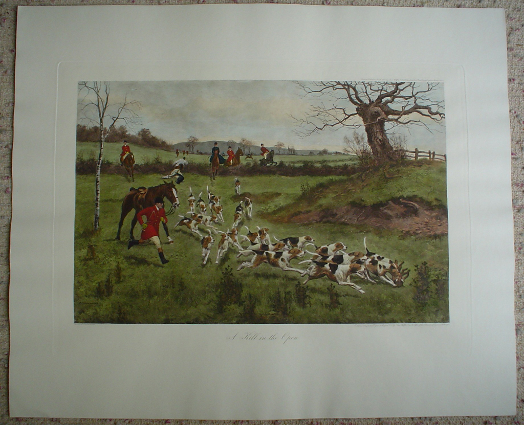 A Kill In The Open by George Derville Rowlandson, shown with full margins - restrike etching, hand-coloured original print