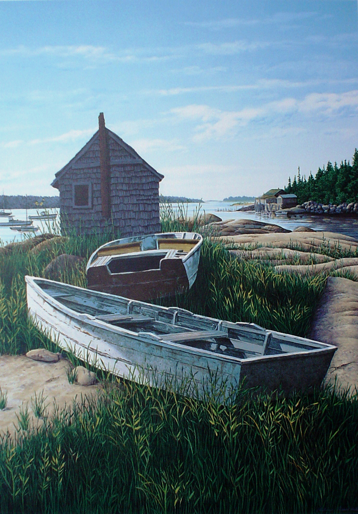 Stonington Harbour by Helen Rundell - original lithograph