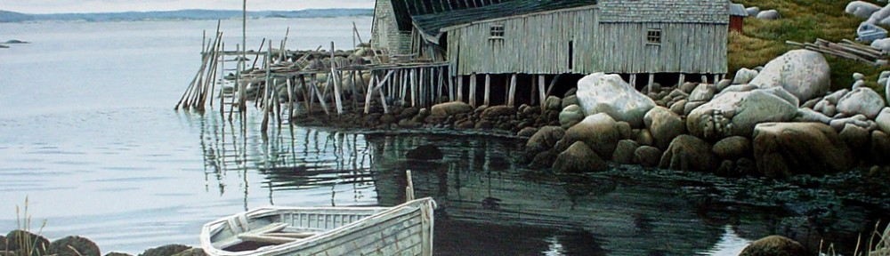 Peggy's Cove, Nova Scotia by Helen Rundell - original lithograph, signed