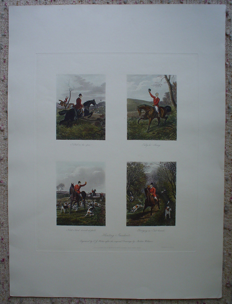 Hunting Incidents by Sheldon Williams, shown with full margins - restrike etching, hand-coloured original print