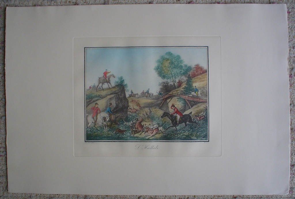 L'Hallali by Carle Vernet, shown with full margins - restrike etching, hand-coloured original print
