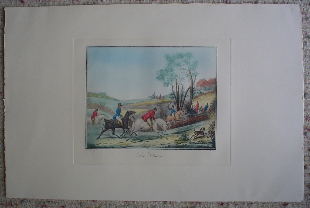 La Chasse by Carle Vernet, shown with full margins - restrike etching, hand-coloured original print