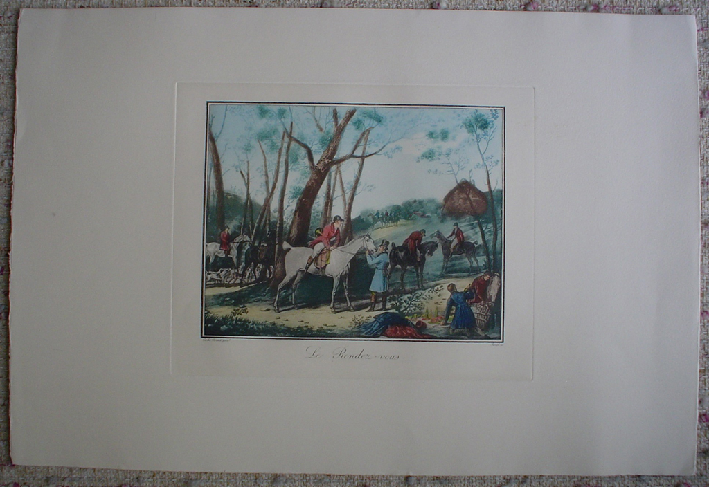 Le Rendez Vous by Carle Vernet, shown with full margins - restrike etching, hand-coloured original print