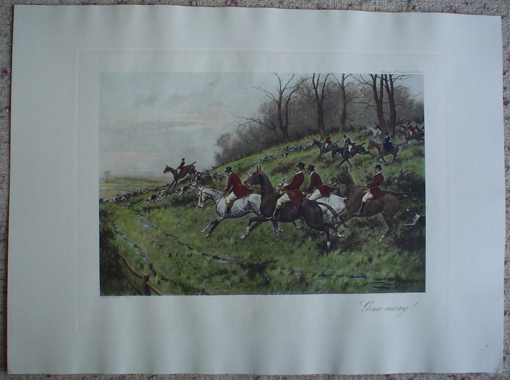 Gone Away! by George Wright, shown with full margins - restrike etching, hand-coloured original print