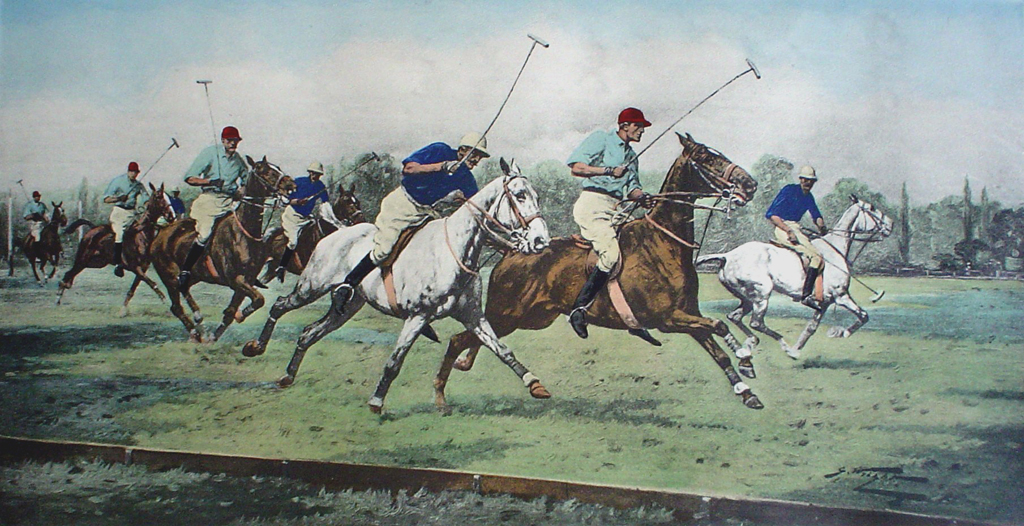 A Gallop On The Boards by George Wright - restrike etching, hand-coloured original print