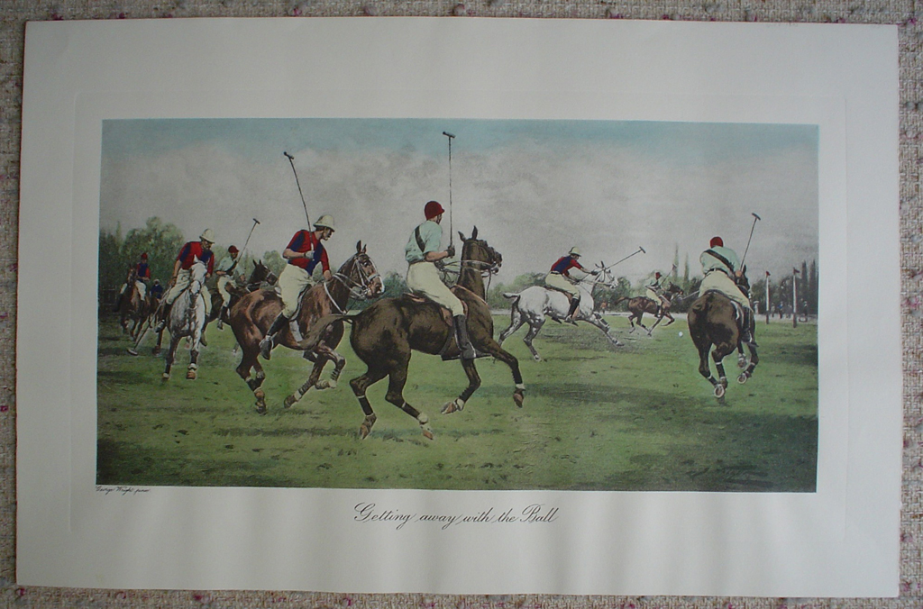 Getting Away With The Ball by George Wright, shown with full margins - restrike etching, hand-coloured original print