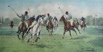 A Backhander Stops A Rush by George Wright - restrike etching, hand-coloured original print