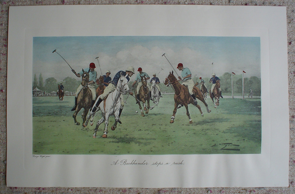 A Backhander Stops A Rush by George Wright, shown with full margins - restrike etching, hand-coloured original print