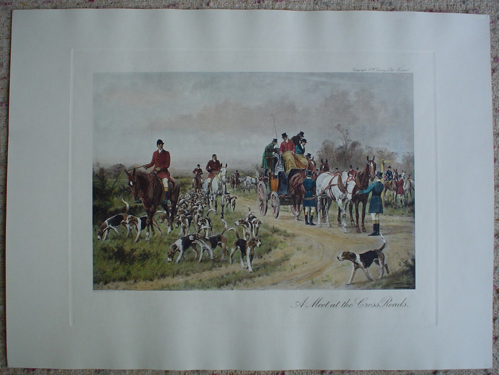 A Meet At The Crossroads by George Wright, shown with full margins - restrike etching, hand-coloured original print
