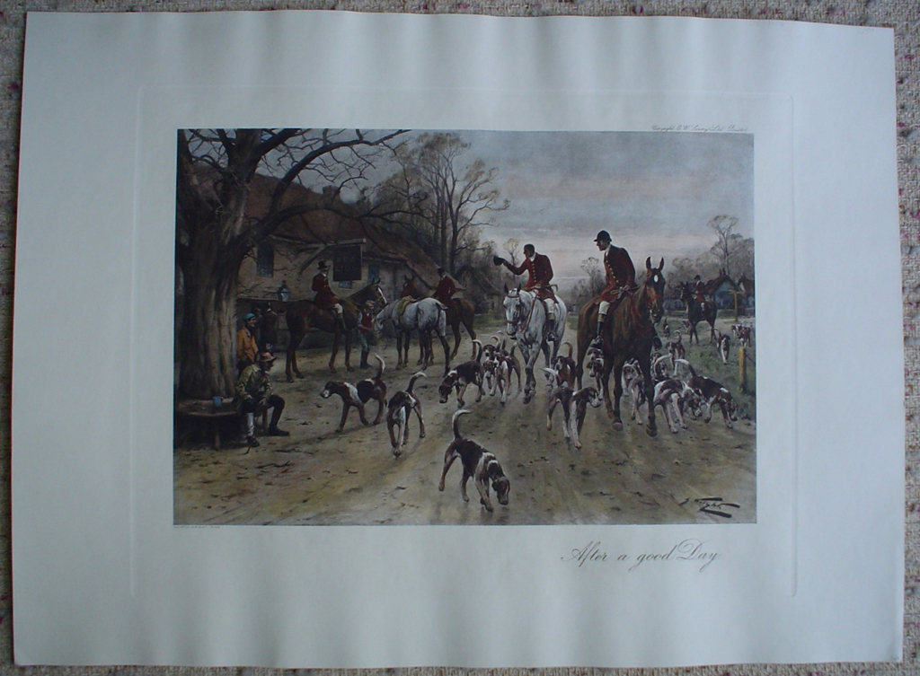 After A Good Day by George Wright, shown with full margins - restrike etching, hand-coloured original print