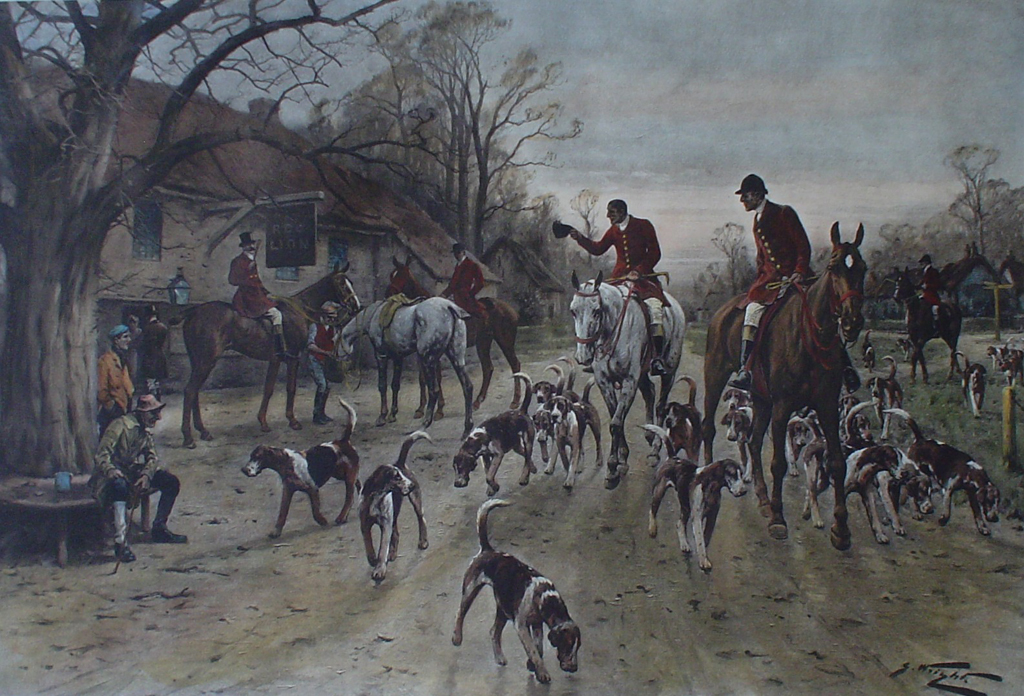 After A Good Day by George Wright - restrike etching, hand-coloured original print