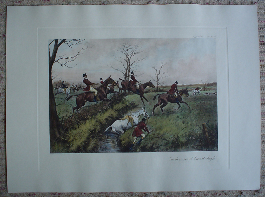 With A Scent Breast-High by George Wright, shown with full margins - restrike etching, hand-coloured original print