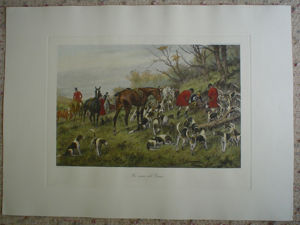 His Same Old Game by George Wright, shown with full margins - restrike etching, hand-coloured original print