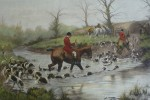 Crossing The Ford by George Wright - restrike etching, hand-coloured original print