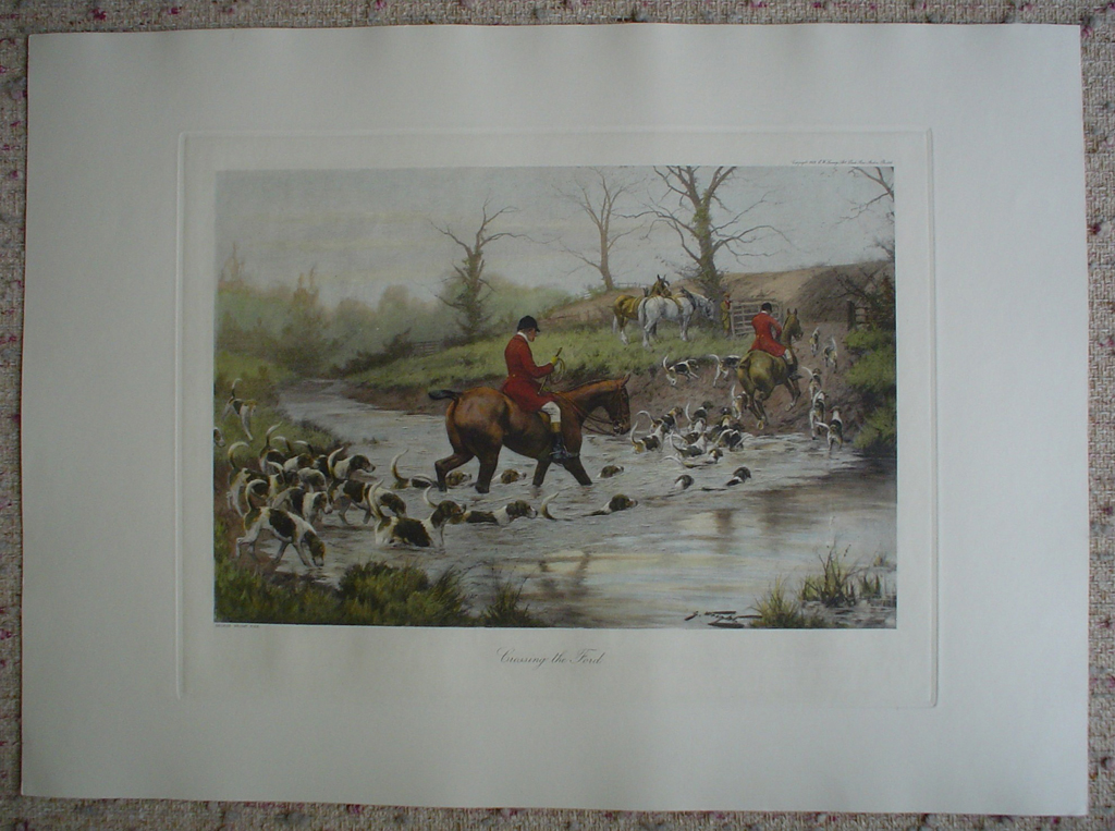 Crossing The Ford by George Wright, shown with full margins - restrike etching, hand-coloured original print