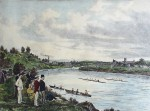 Rowing At Cheltenham by Henry Wimbush - restrike etching, hand-coloured original print