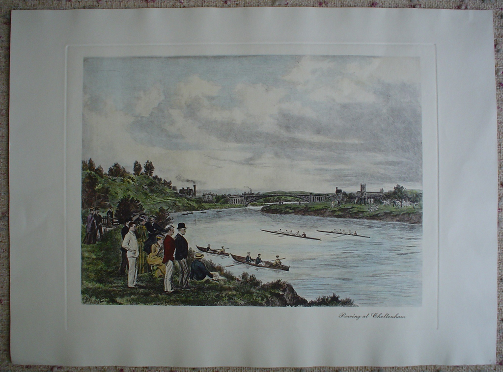 Rowing At Cheltenham by Henry Wimbush, shown with full margins - restrike etching, hand-coloured original print
